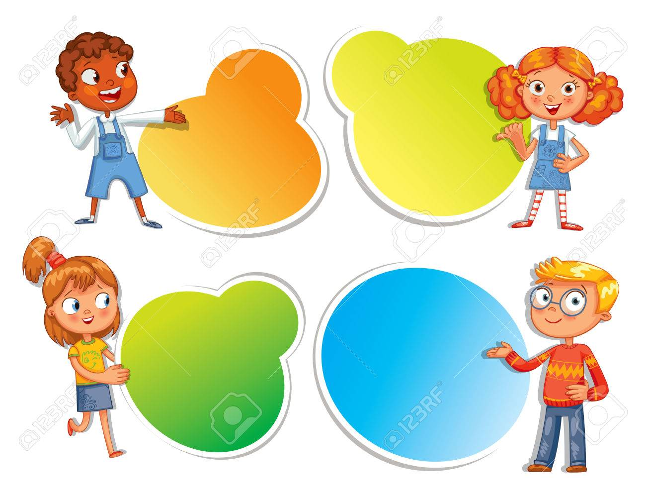 Pupils pointing at a poster. Ready for your message. Colorful template for advertising brochure with a cute happy kid. Funny cartoon character. Vector illustration. Isolated on white background - 69019214