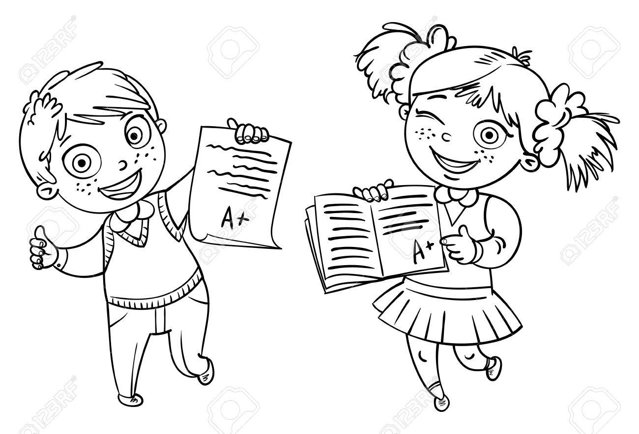 男の子と女の子の完璧なテスト結果を示しますa 学生面白い漫画の
