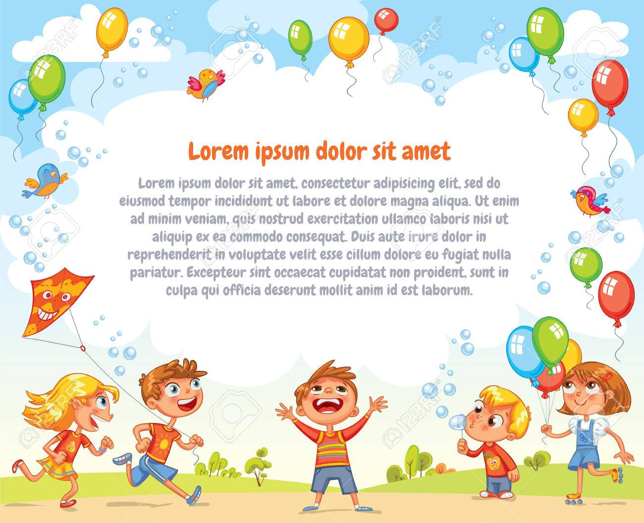 Boys and girls are playing in the Amusement park. Playground. Template for advertising brochure. Ready for your message. Children look up with interest. Funny cartoon character. Vector illustration - 69019222
