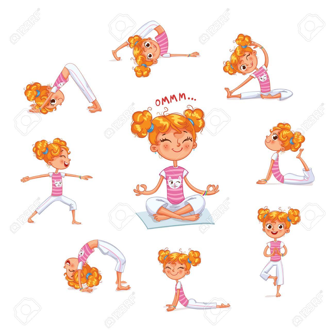 Chica Dedica A Ejercicios Físicos Los Niños De Fitness Niño Yoga Gimnasia Para Niños Juega Deportes Personaje De Dibujos Animados Divertido