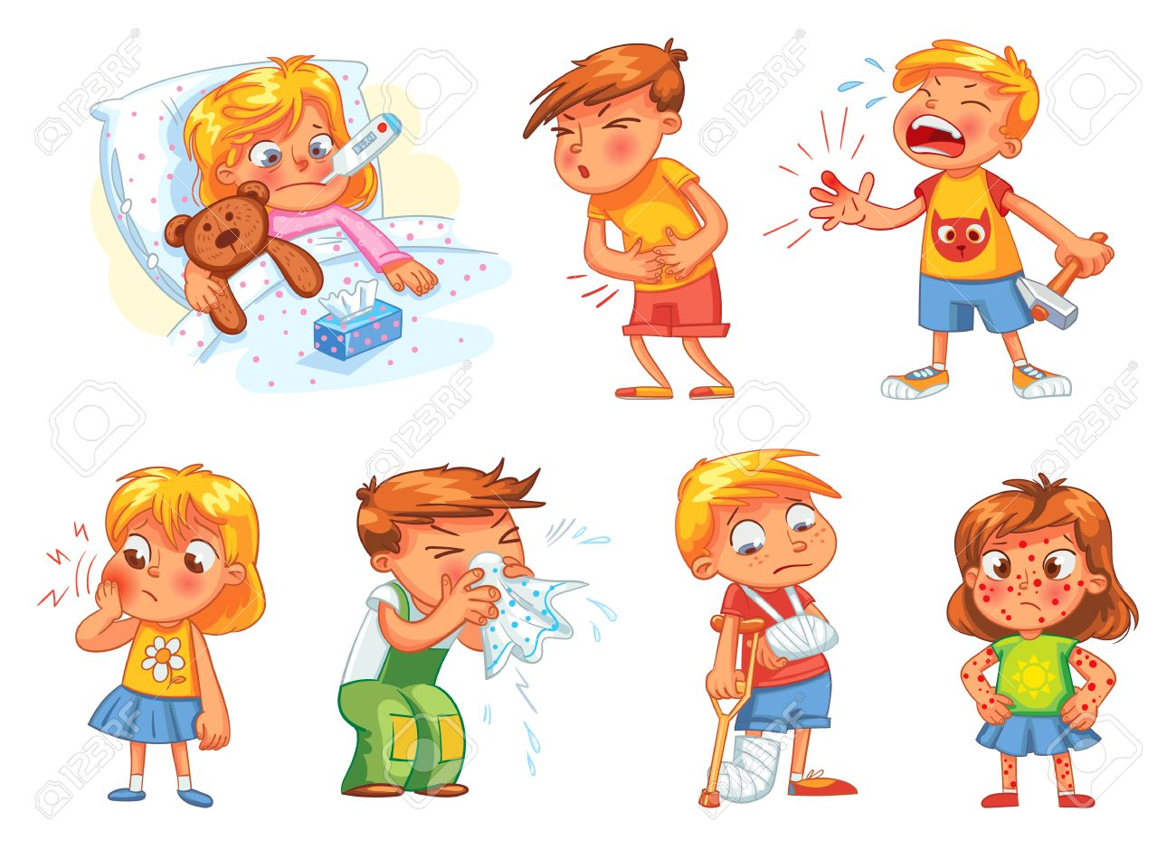 Children get sick. Child has high temperature. Boy hit with hammer on finger. Toothache. Boy's stomach ache. Girl's body rash. Broken limbs. Cold in head. Funny cartoon character. Vector illustration - 69019227