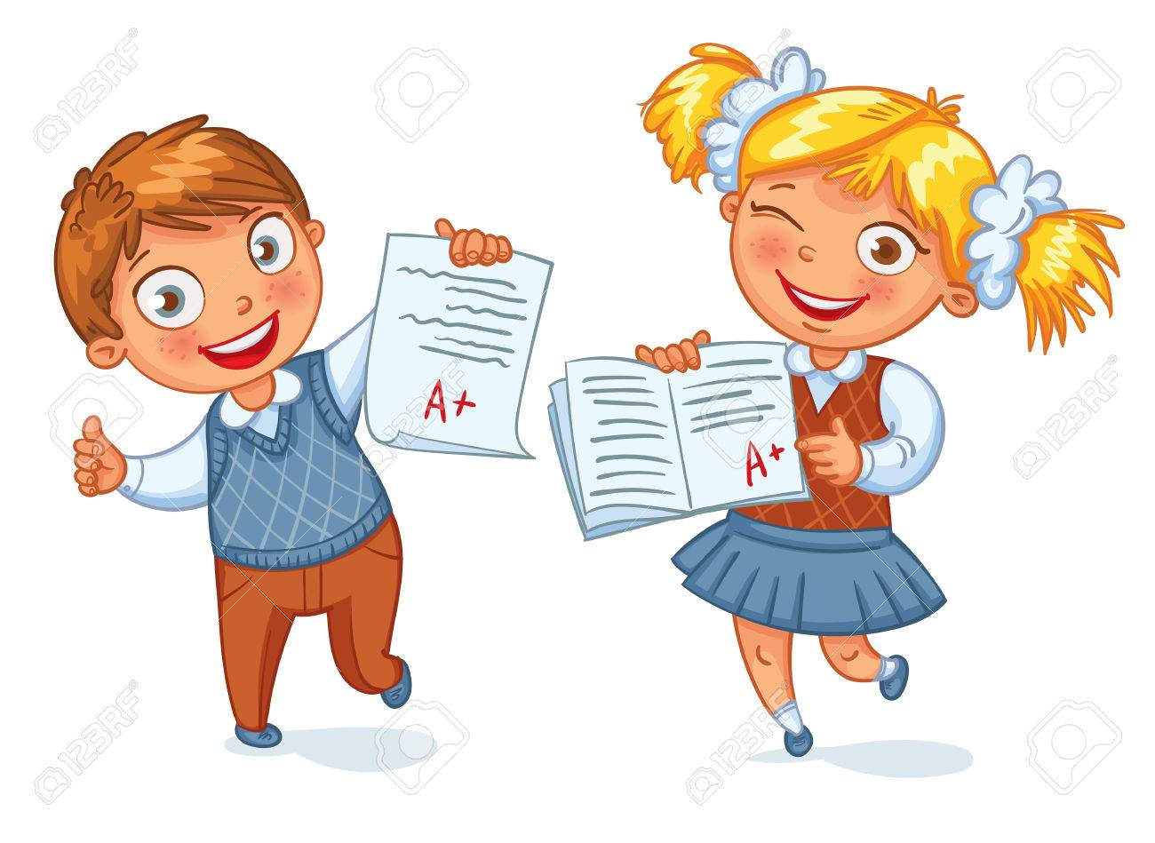 Funny Cartoon Images Of Boys boys and girls showing perfect test results. an a student. funny..