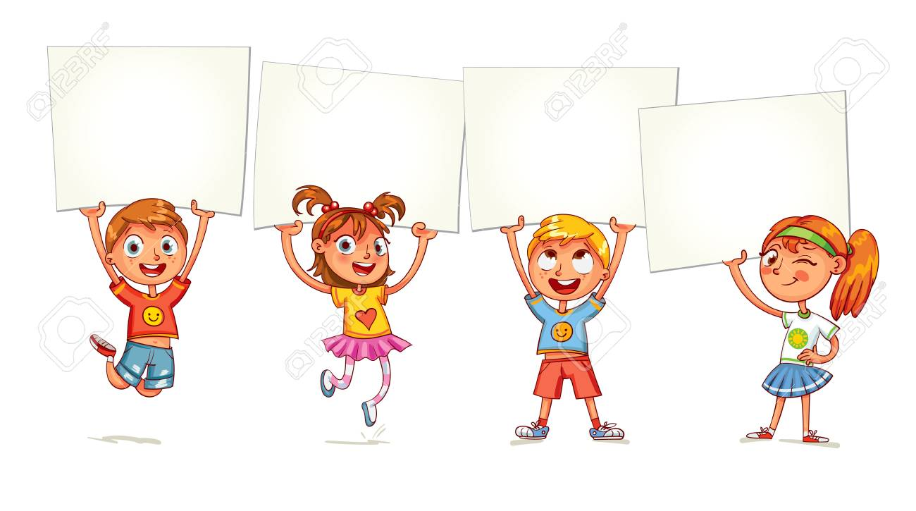Children holding empty blank board. Kids are raised up posters. Holiday, celebration, festivity. Ready for your message. Space for text. Funny cartoon character. Isolated on white background - 69019272