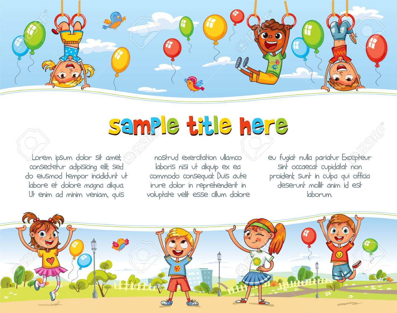 Playing in Amusement park. Playground. Happy children holding blank poster. Template for advertising brochure. Ready for your message. Space for text. Funny cartoon character. Vector illustration - 69019290