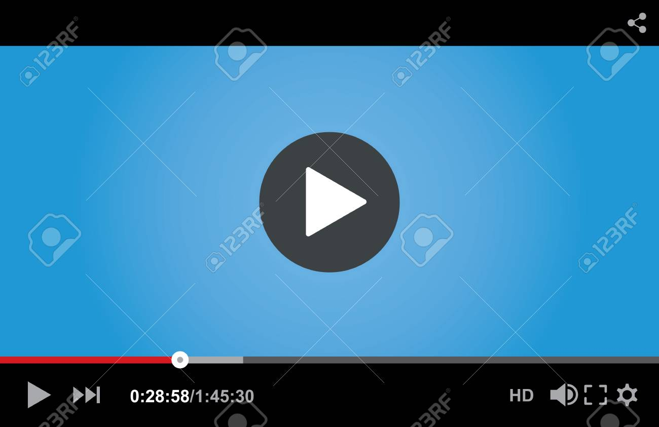 Video player interface template for web and mobile apps, vector