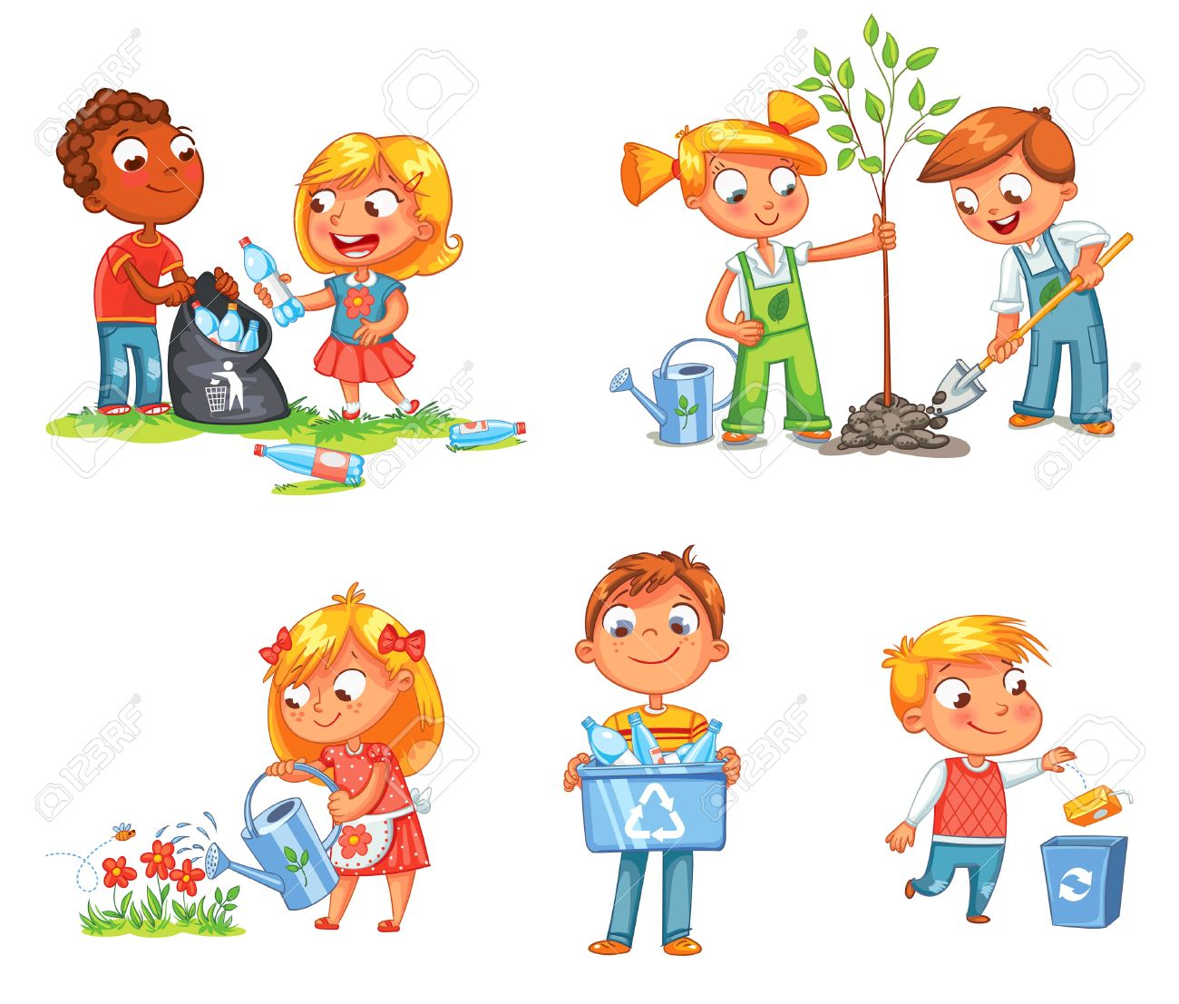 Save Earth. Waste recycling. Children planted young trees. Girl watering flowers from watering can. Kids gathering plastic bottles for recycling. Boy throws litter into bin. Isolated white background - 69020151