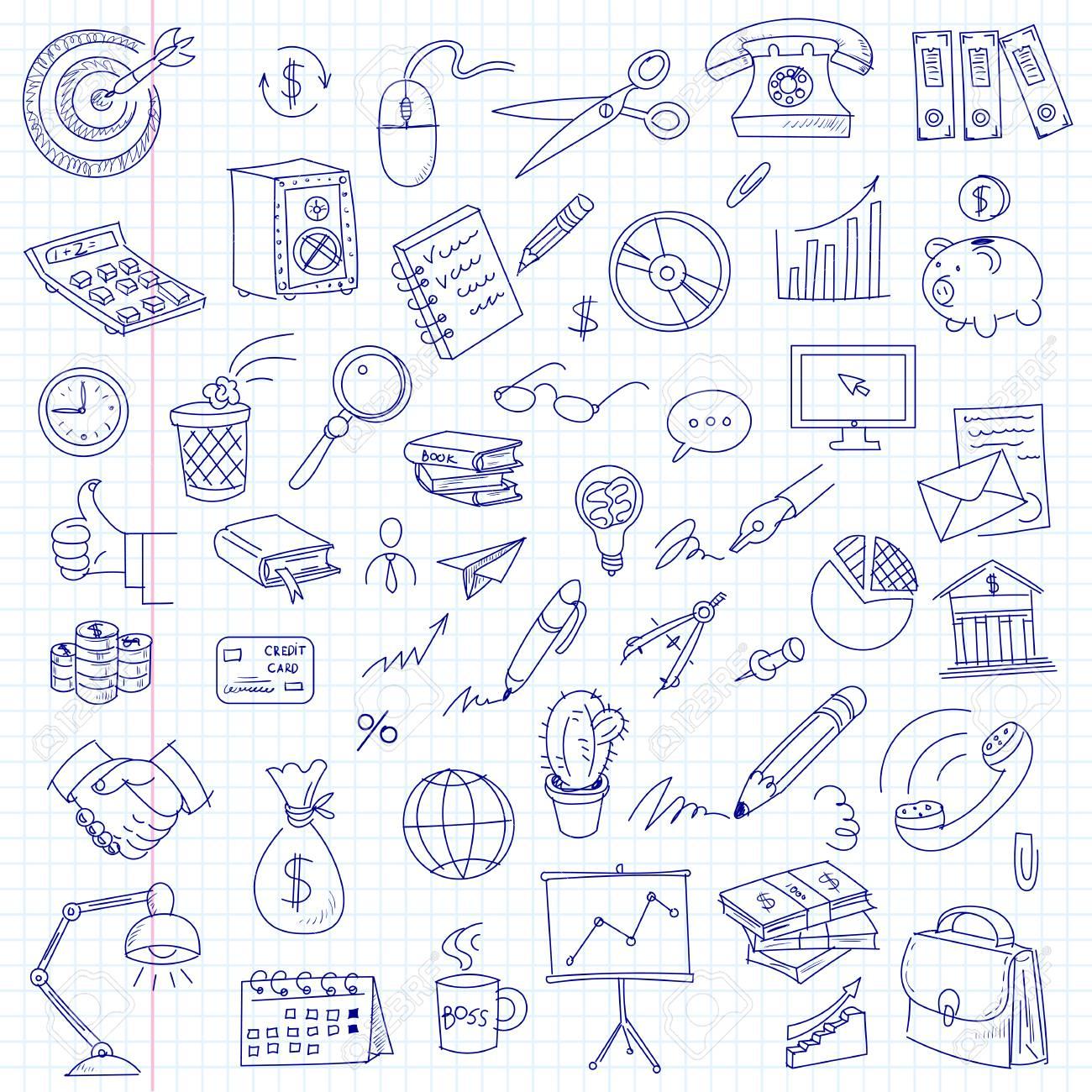 Artículos De Oficina Dibujo A Mano Alzada En Una Hoja De Cuaderno