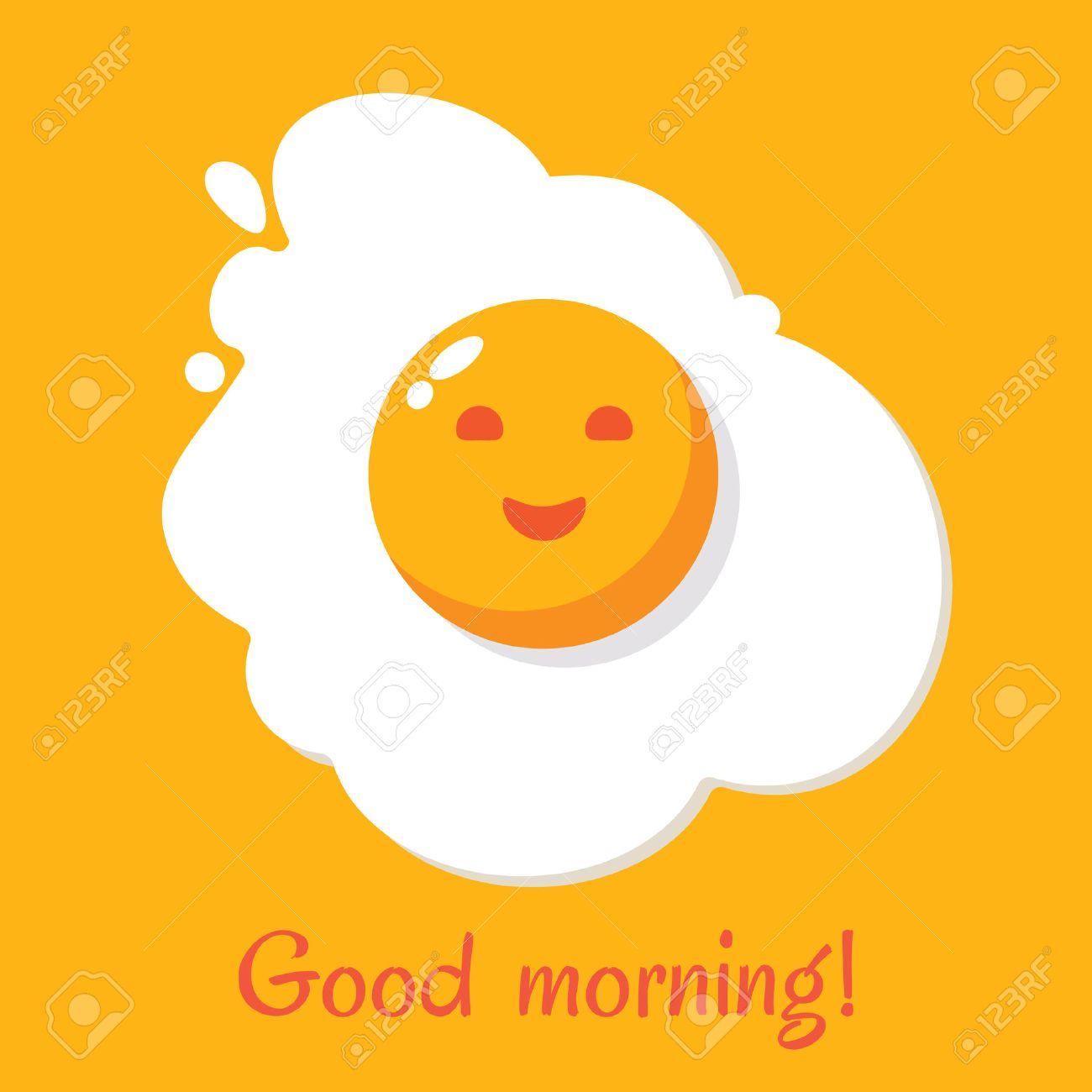 Good morning. Egg breakfast. Fried egg isolated on yellow background. Fried egg flat icon. Scrambled egg. Fried egg in cartoon style. Vector illustration - 69020181