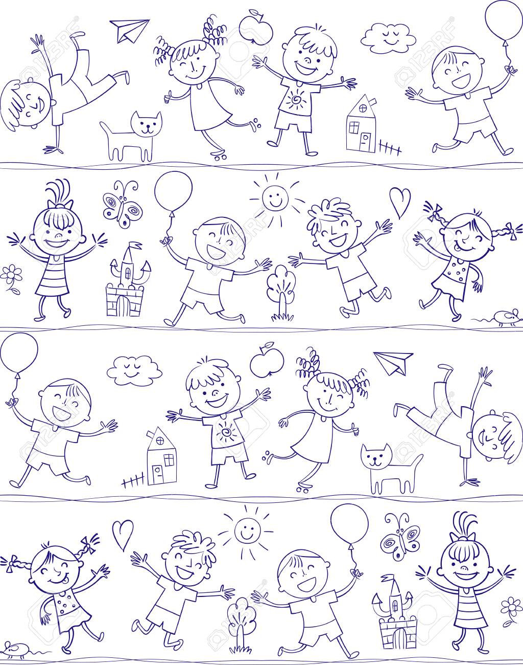 happy kid cartoon doodle in the style of childrens drawings seamless pattern freehand - Kid Cartoon Drawing