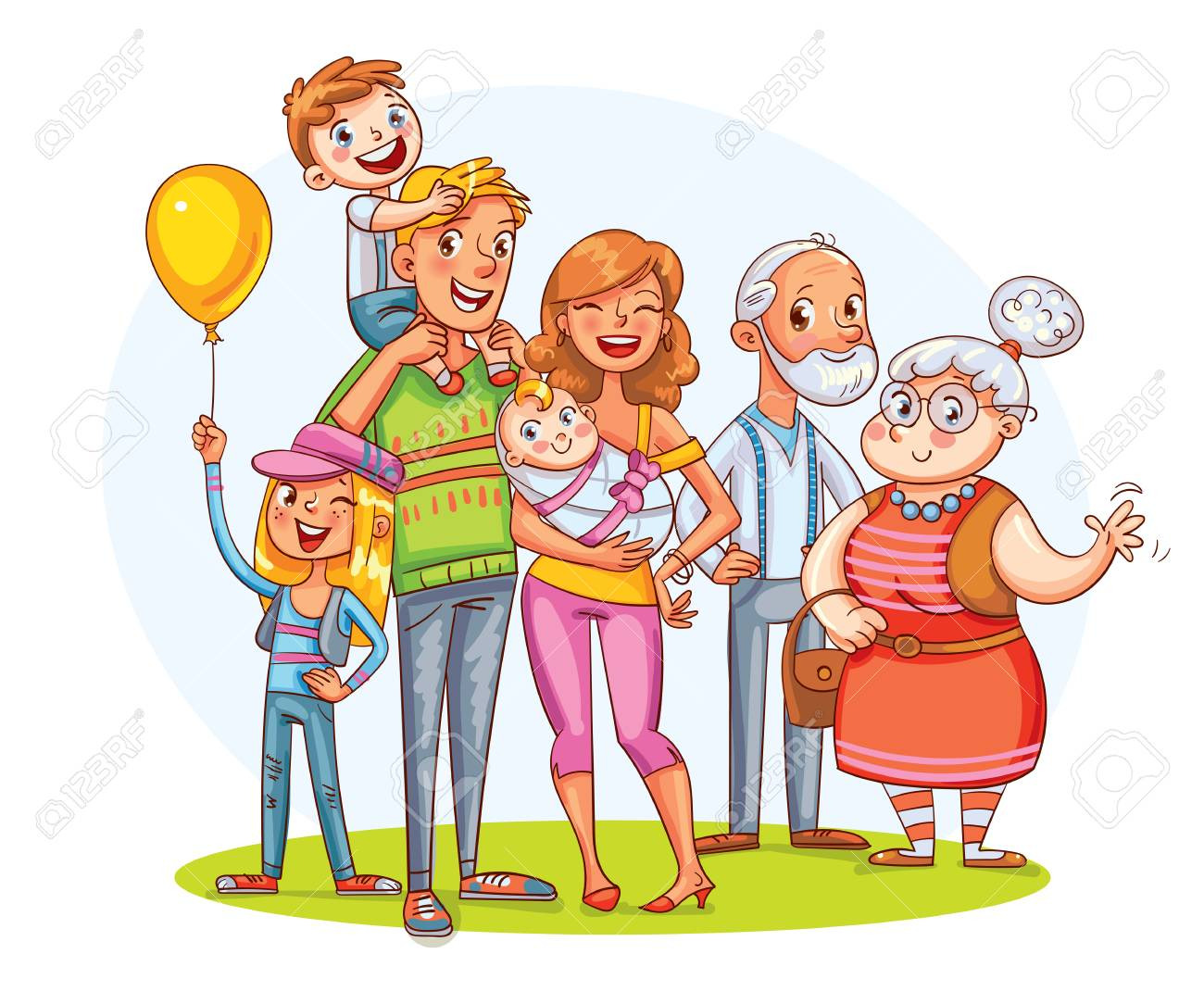 My big family together. Family portrait (father, mother, daughter, son, grandparents). - 91757953