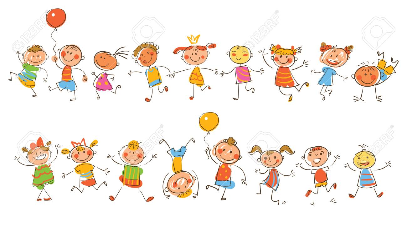 Cute Happy Kids In The Style Of Children S Drawings Funny Cartoon Royalty Free Cliparts Vectors And Stock Illustration Image 91740726