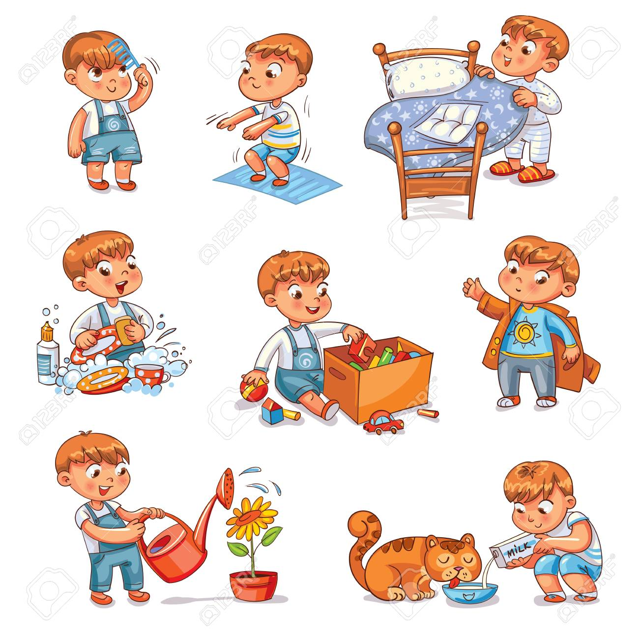 Daily routine. Child is combing his hair. Boy washes dishes. Kid is putting his toys in a box. Child makes bed. Kid himself clothes. Boy doing fitness exercise. Baby feeds a pet. - 91740727