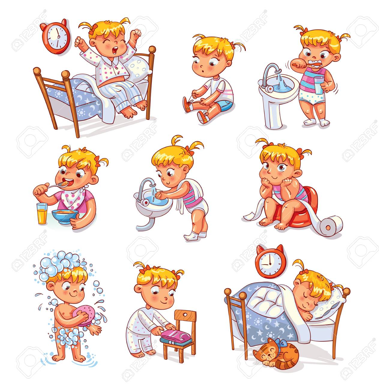 Daily routine activities. Baby sitting children's pot. Girl brushing her teeth. Kid neatly folds his clothes. Girl washes her hands. Child taking shower. Wake up in morning. Funny cartoon character. - 91740741