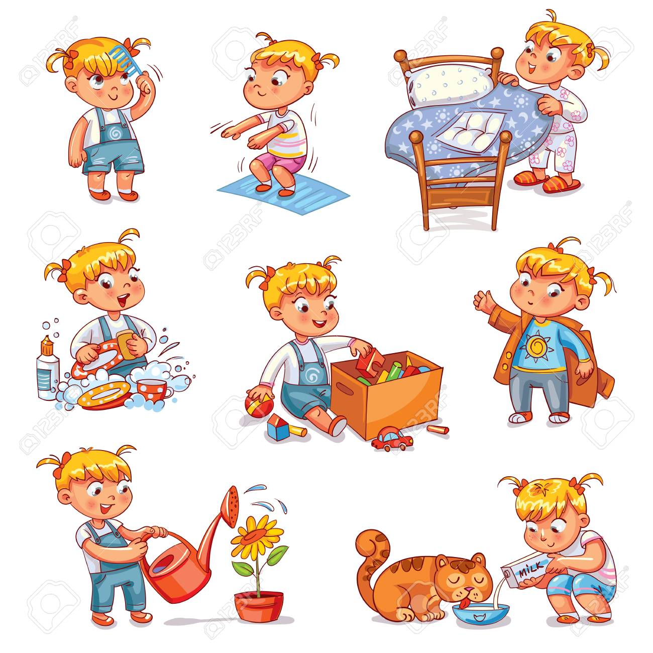 Daily routine. Child is combing his hair. Girl washes dishes. Kid is putting his toys in a box. Child makes bed. Girl himself clothes. Girl doing fitness exercise. Baby feeds a pet. - 91740770