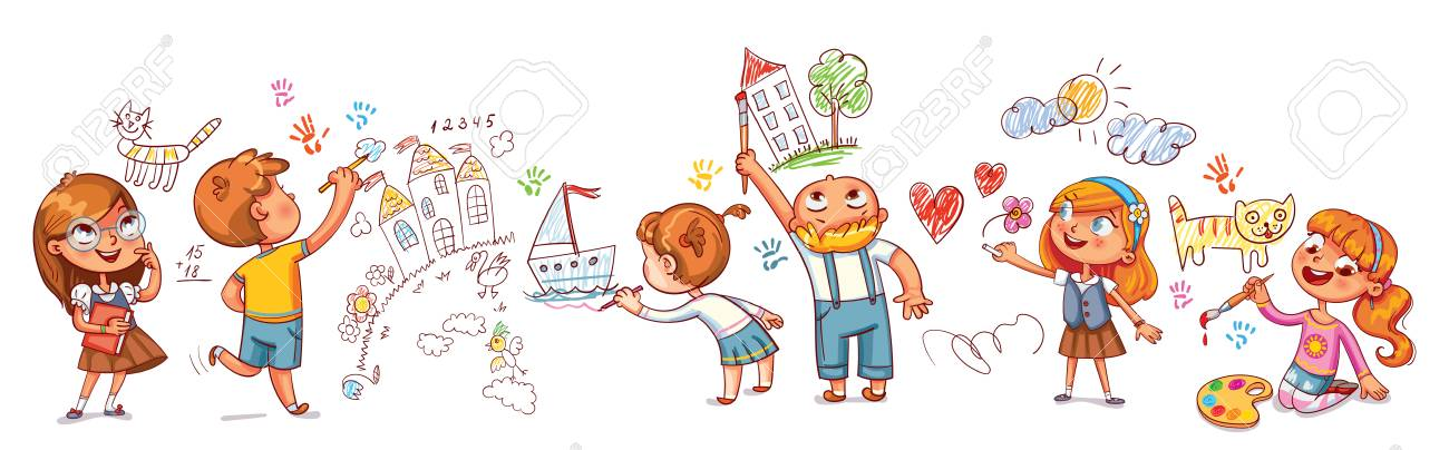 Cute Kids Paint Drawings On The Wall Royalty Free Cliparts Vectors