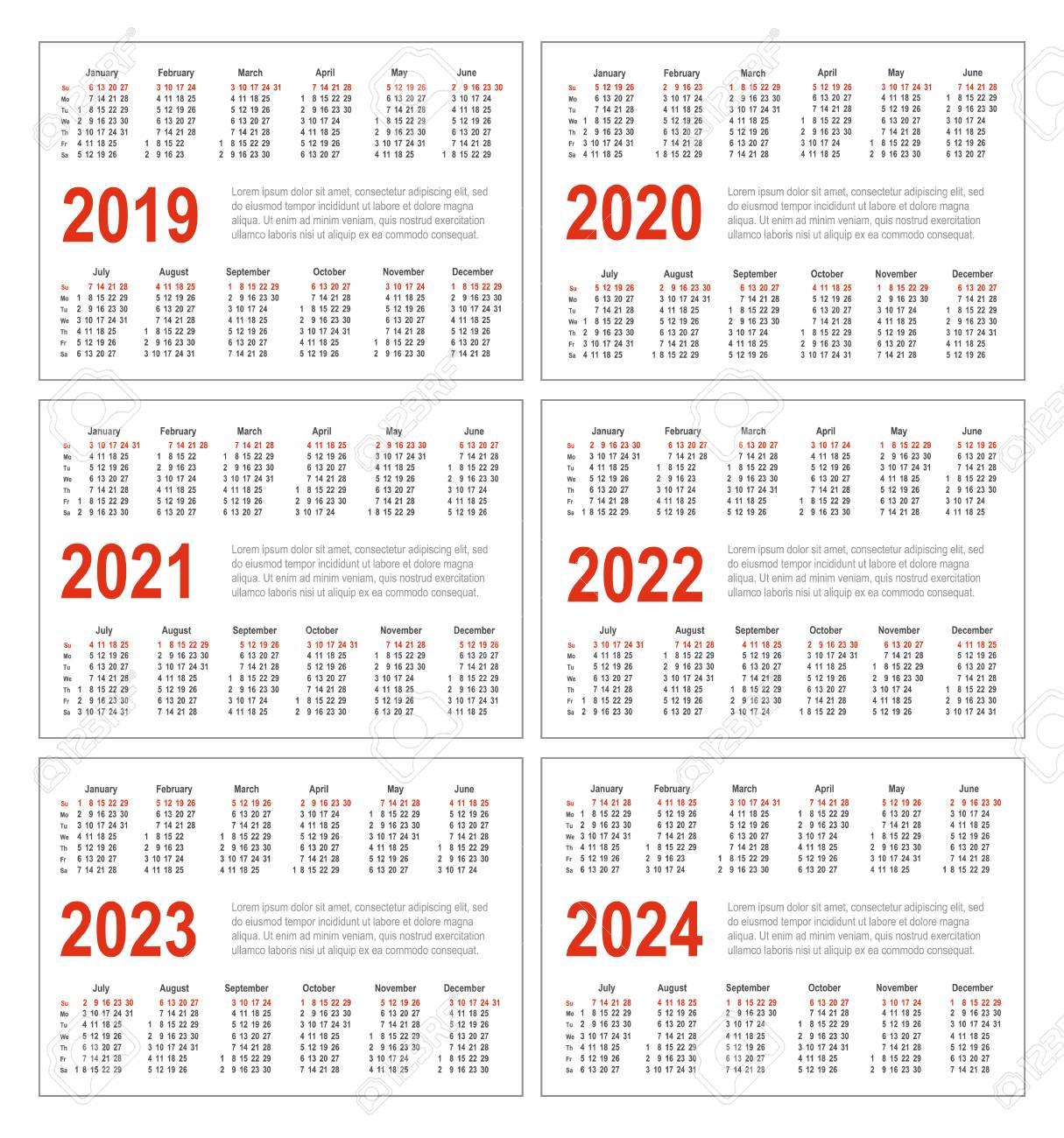 2021 And 2019 Pocket Calendar Simple Horizontal Calendar For 2019, 2020, 2021, 2022, 2023 And