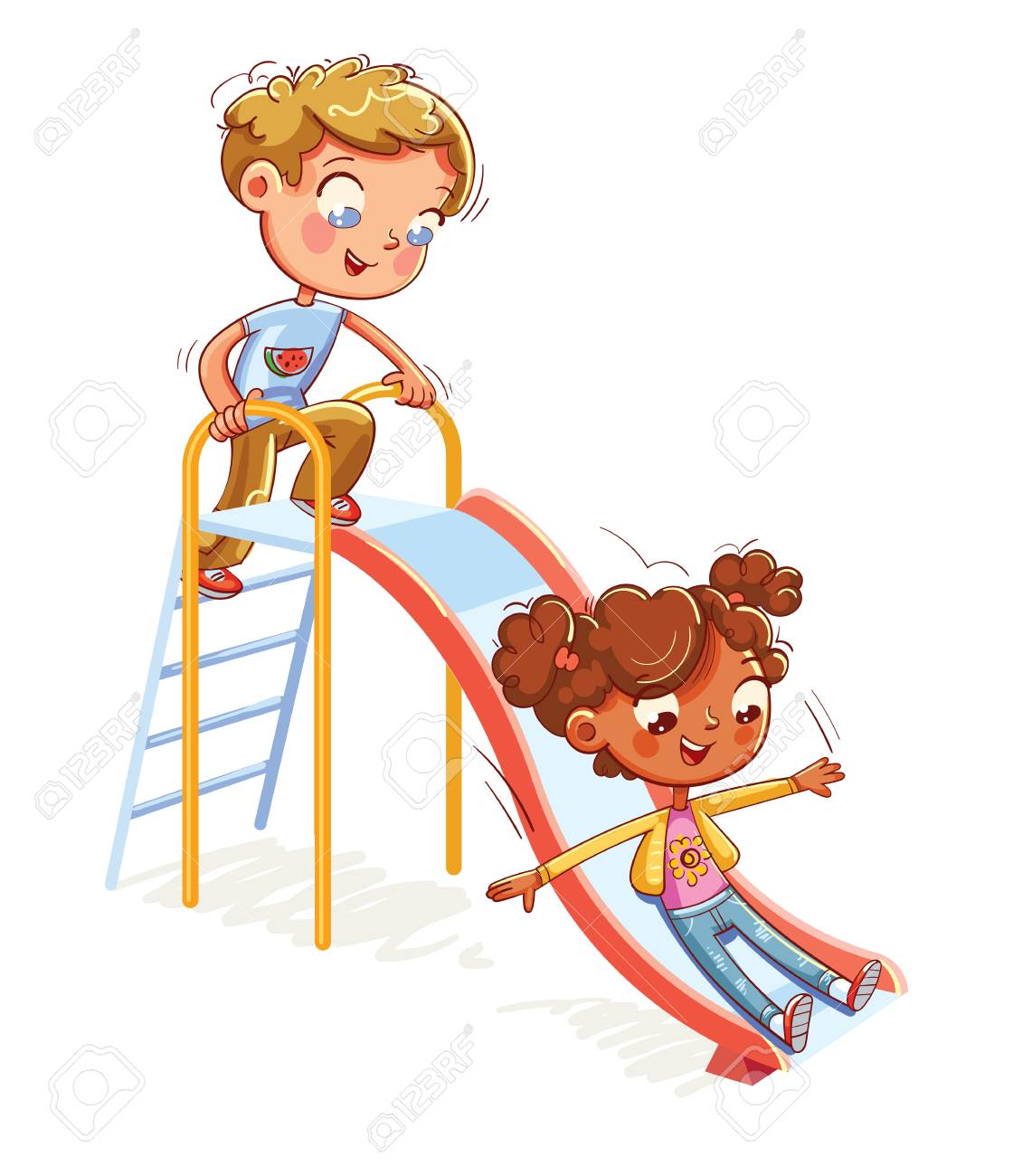 Place for children's games. Amusement park. Children's entertainment complex with stairs and slides in recreation park. Funny cartoon character. Vector illustration. Isolated on white background - 115839485