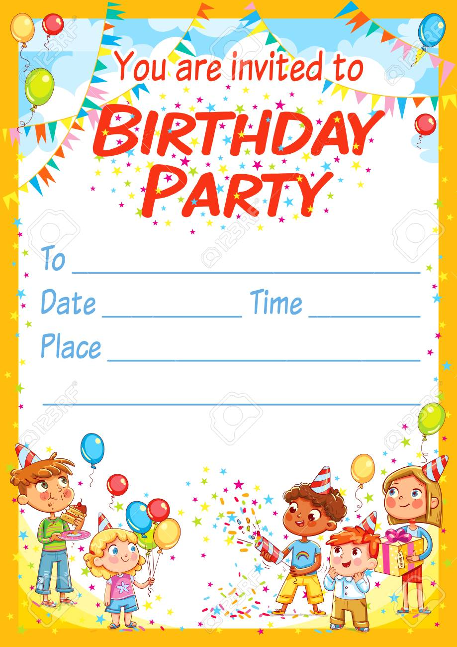 Invitation card for the birthday party. Happy group of children..