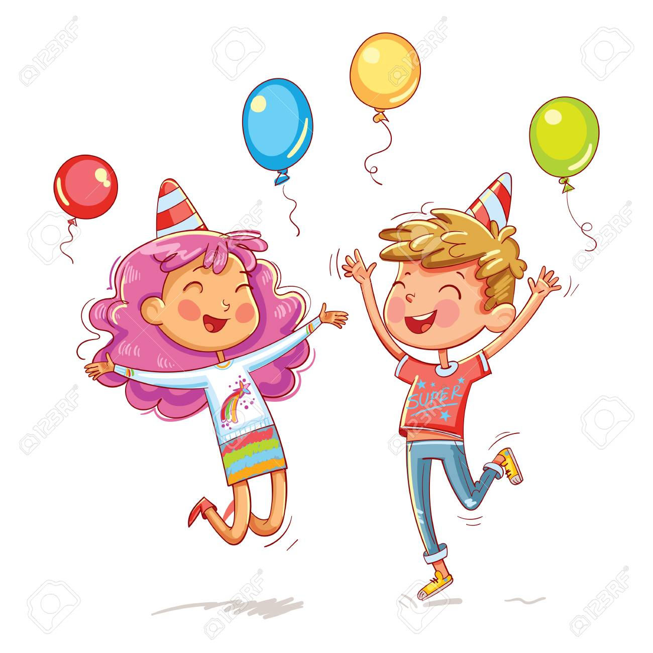 A Boy And A Girl Jumping Fun At A Children S Birthday Party