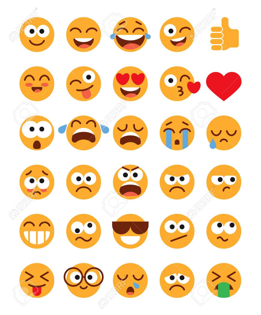 Emoji pack. Set of funny classic emojis. Flat style. Isolated on white background. Vector illustration - 168559961