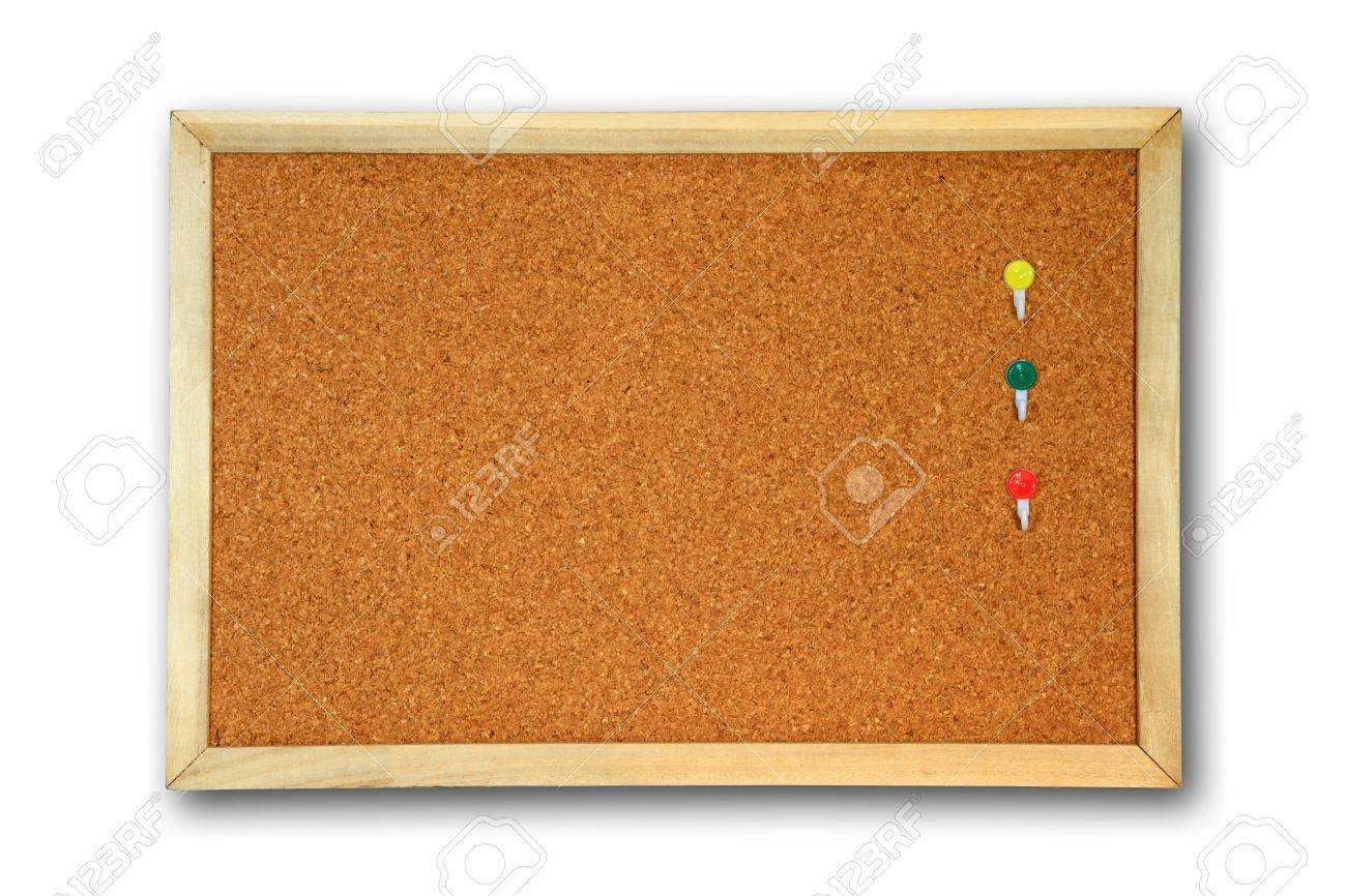 board - cork board  with three color pin Drop shadow Stock Photo - 8045916