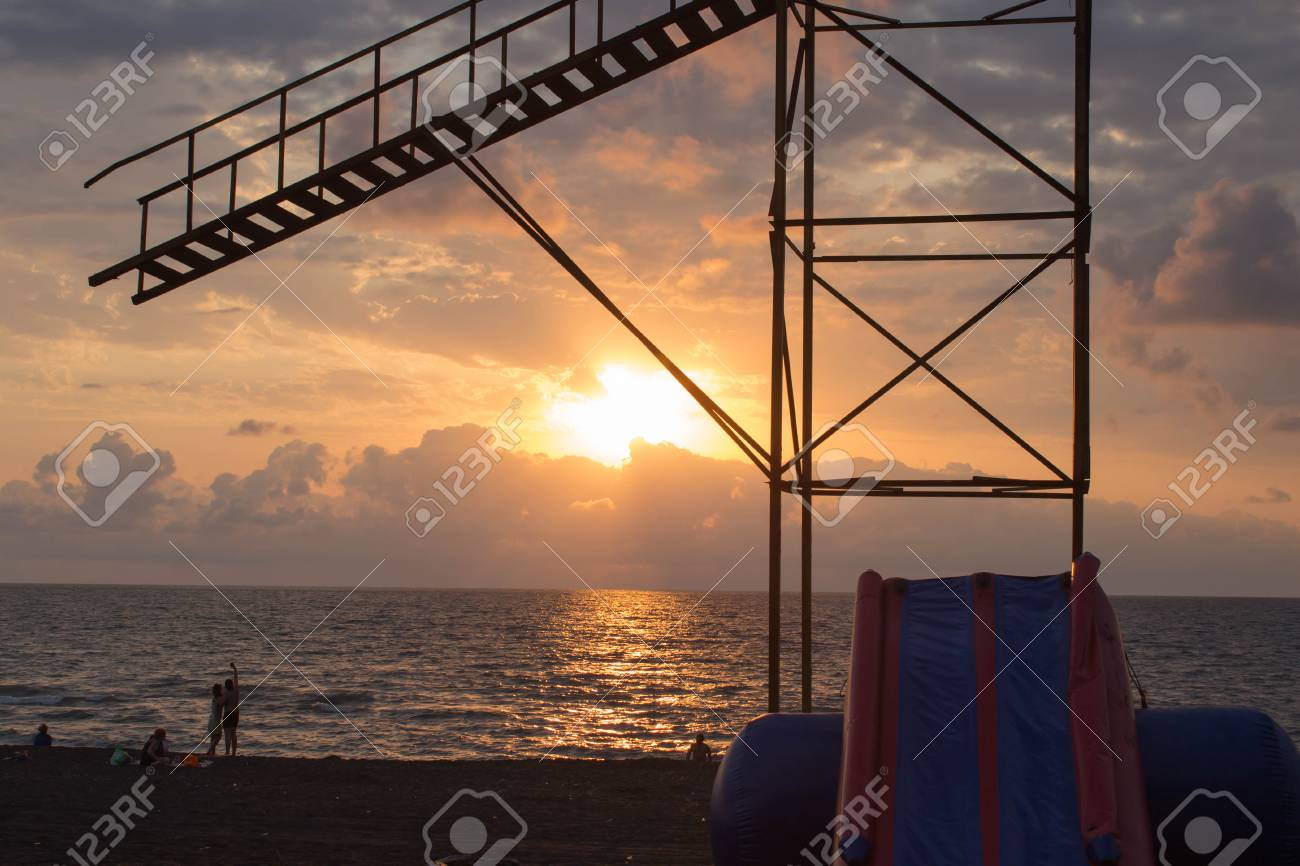 Beautiful Summer Golden Sunset Above The Black Sea With Calm