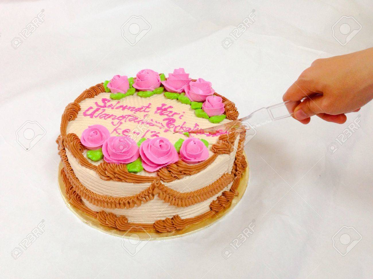 Woman Hand Cutting Happy Anniversary Cake Stock Photo Picture And