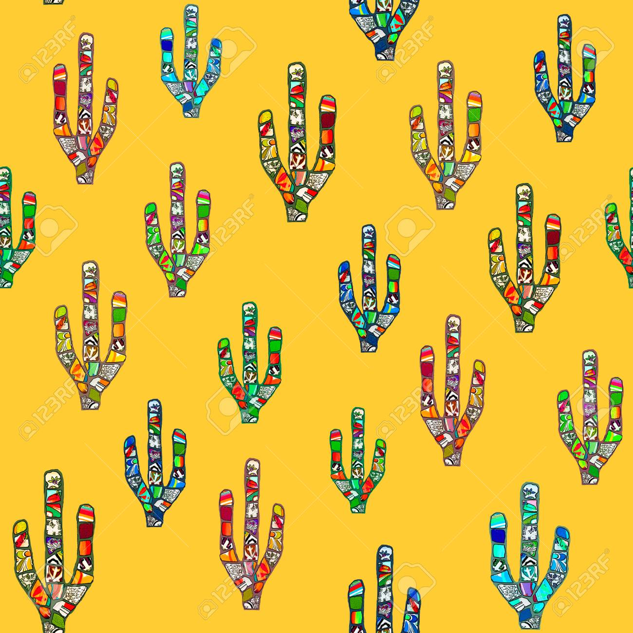 Seamless Colorful Abstract Mosaic Cacti Pattern On A Yellow Background