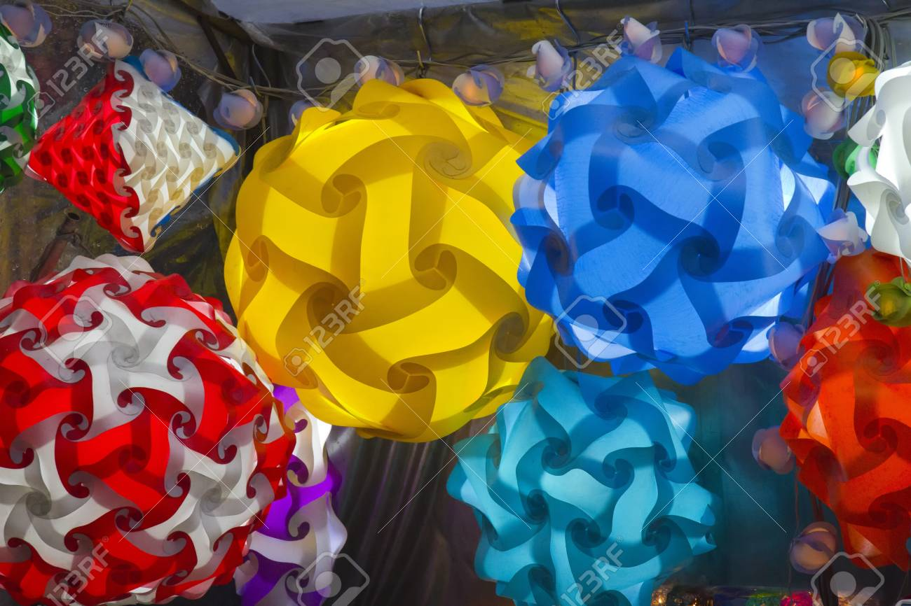 Colourful lampshades on stall Stock Photo - 17251590