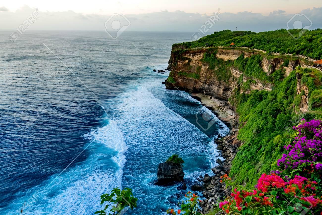Scenic landscape of high cliff at Uluwatu Temple, Bali, Indonesia