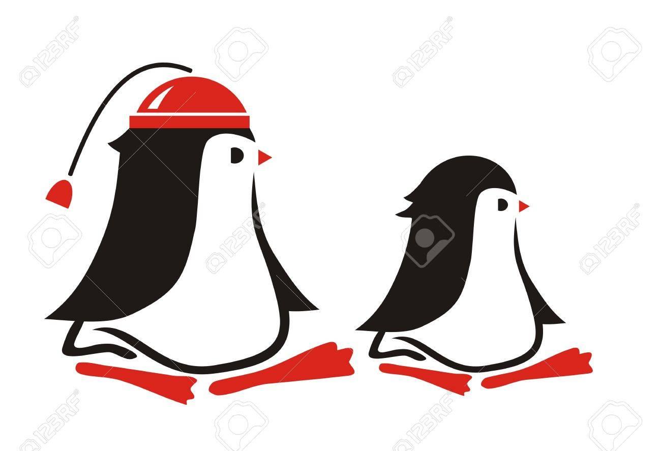two cartoon penguins Stock Vector - 2690280