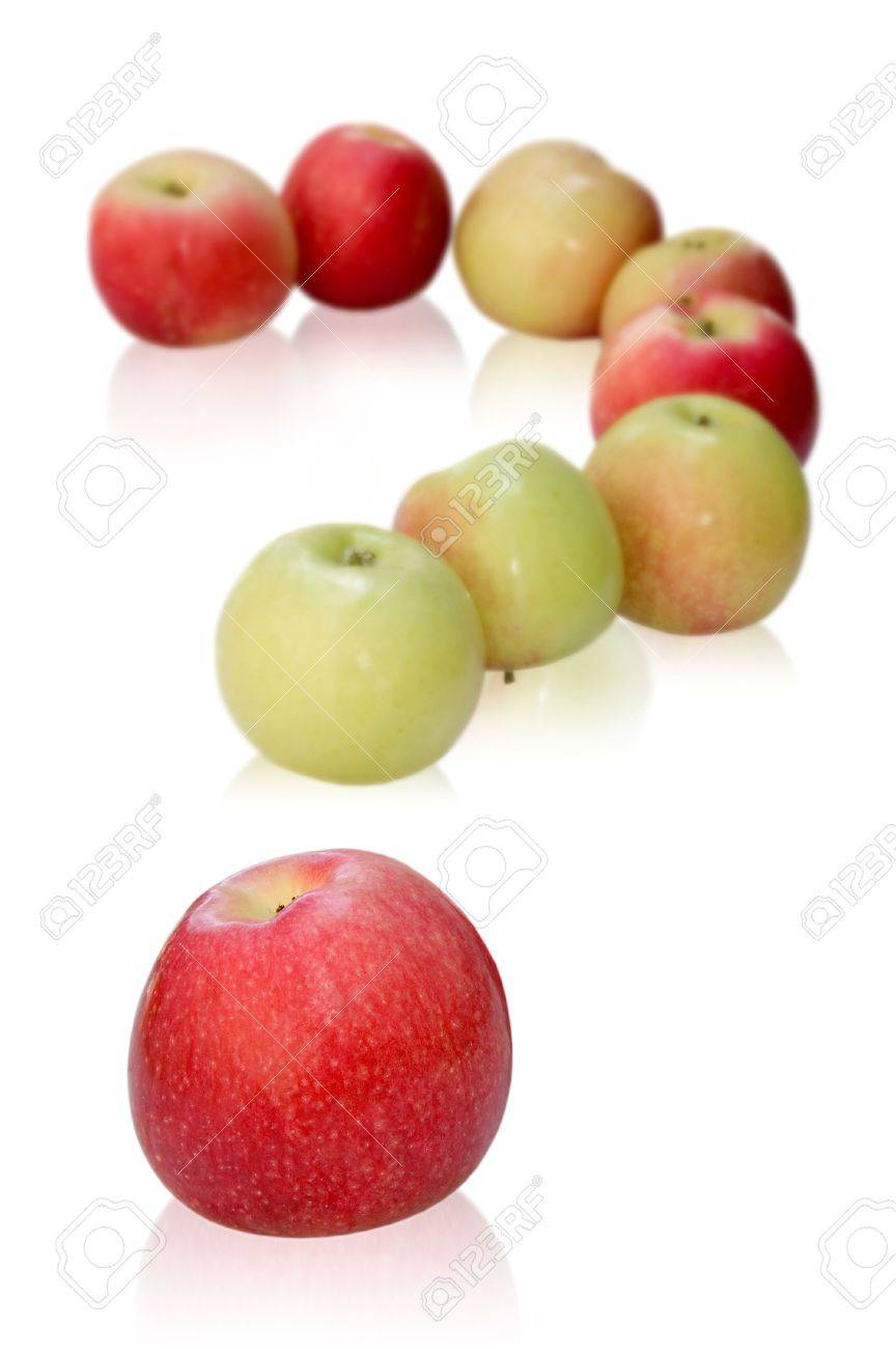 apples like a question mark. isolated on white background Stock Photo - 2767465