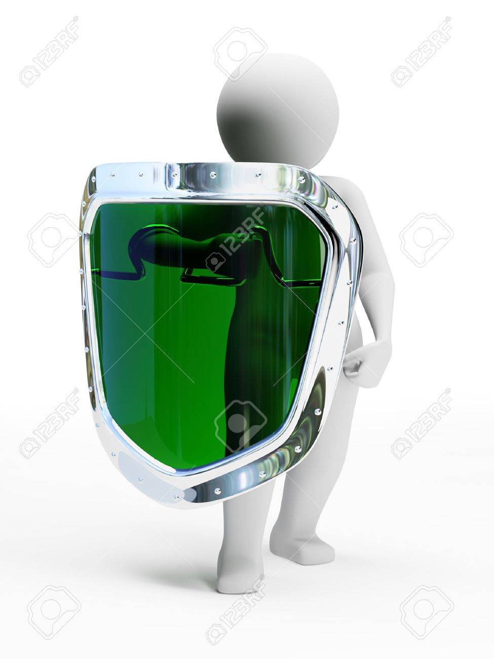 3d abstract person in pose of defender with shield isolated on white background Stock Photo - 4813616