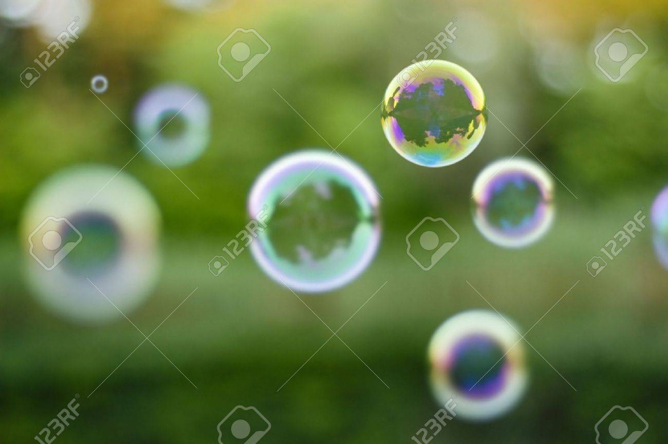 soap-bubbles on nature background - 5124017