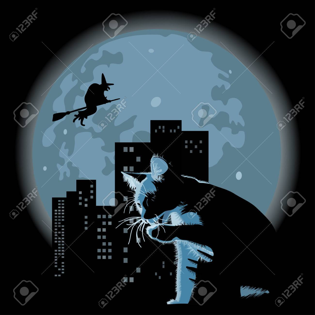 halloween theme with cat and witch against full moon and city Stock Vector - 5377021