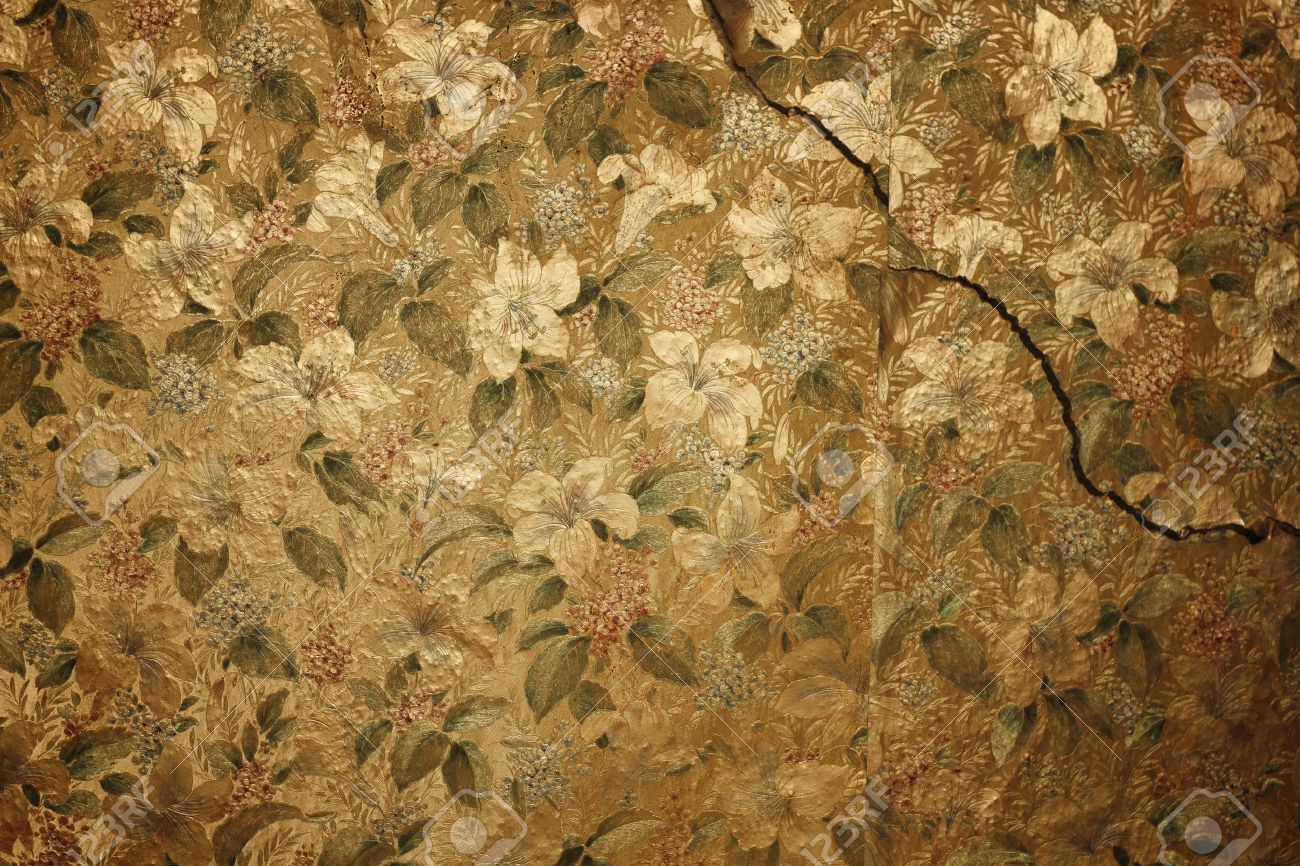 Vintage Floral Wallpaper On Cracked Wall Stock Photo Picture And