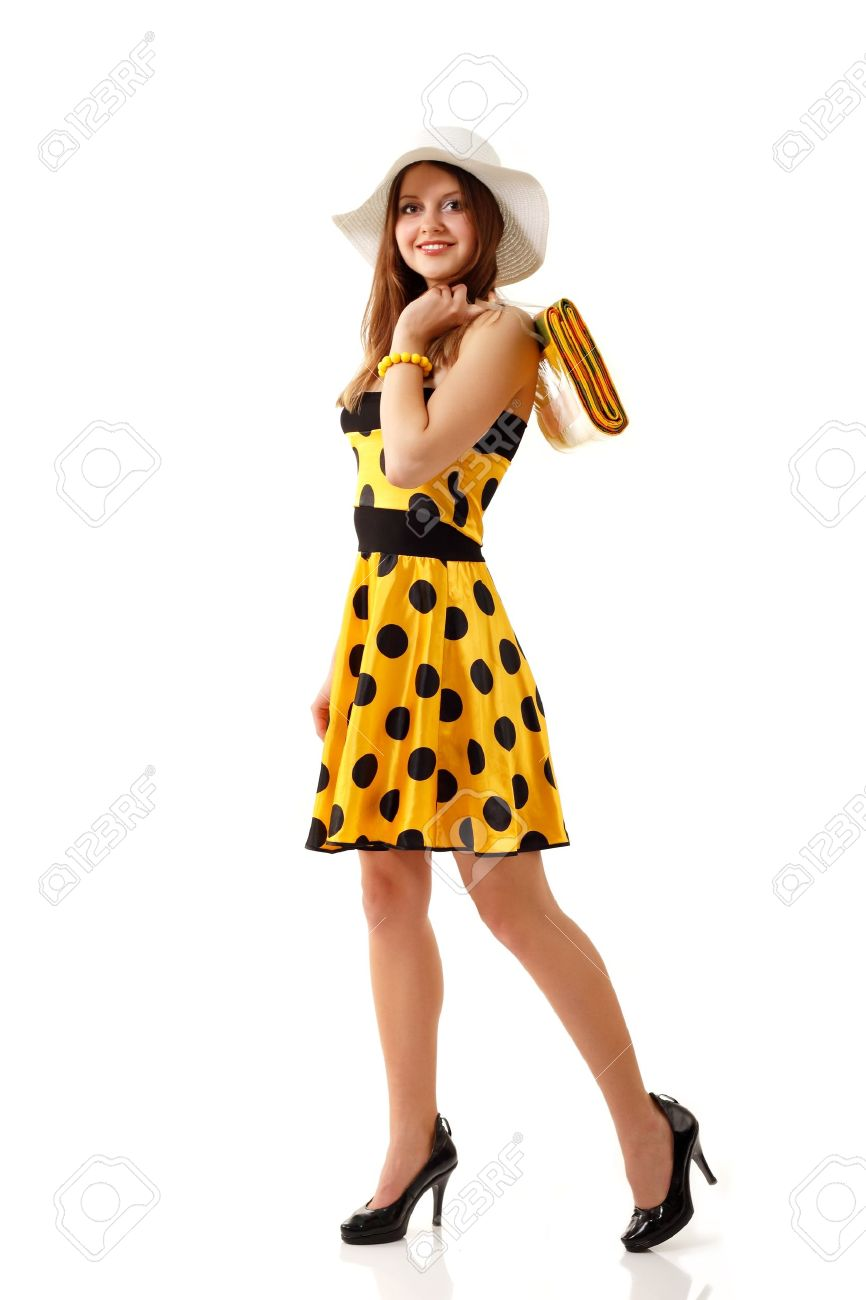 summer woman beautiful yellow dress isolated on white background Stock Photo - 10387217