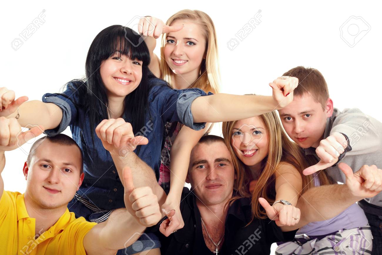 thumbs up students group happy isolated on white background Stock Photo - 10525285