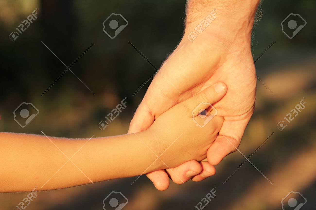 family father and child son hands nature evening summer outdoor Stock Photo - 12106285