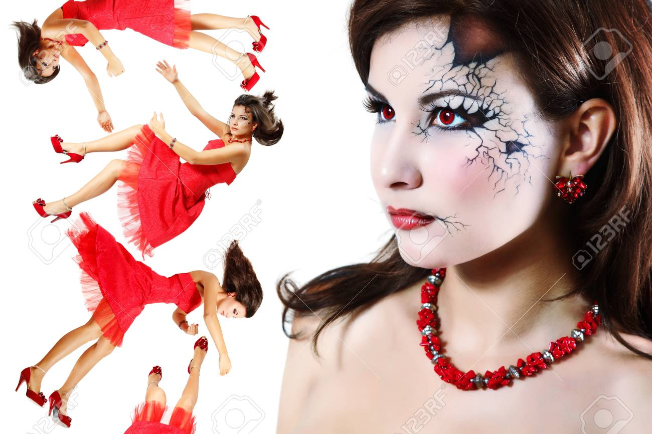 halloween broken doll beautiful girl isolated Stock Photo - 13404366