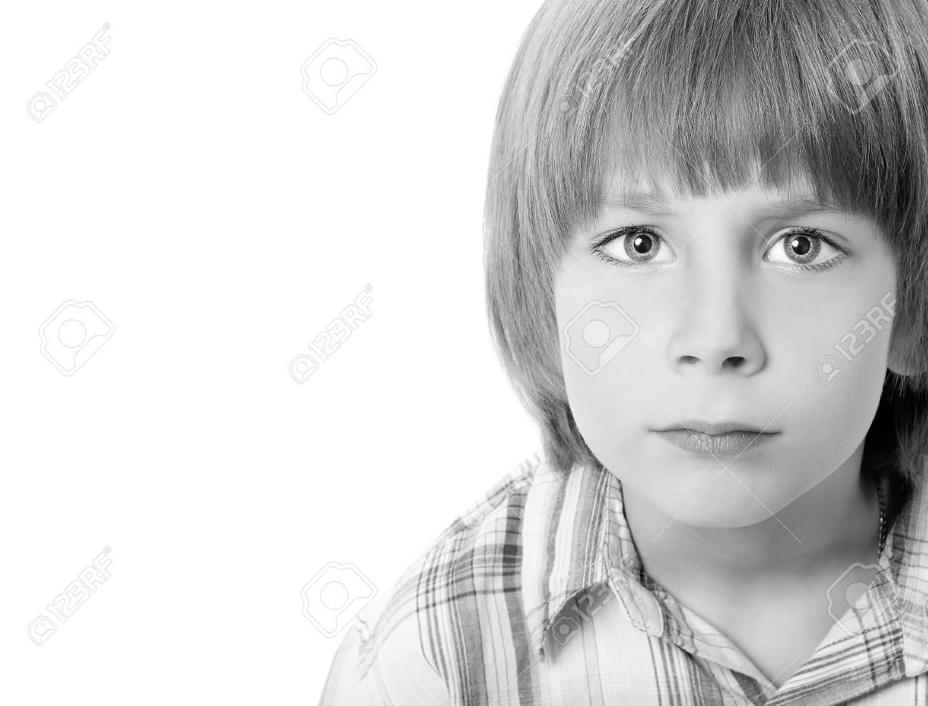 boy troubled isolated on white background Stock Photo - 13590049