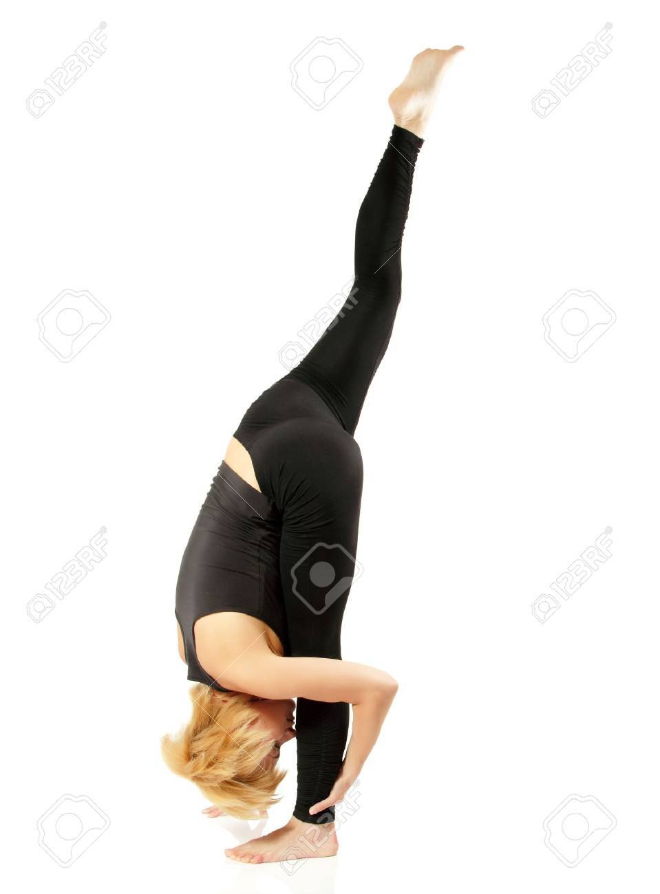 woman yogi in yoga pose isolated on white background Stock Photo - 13786368