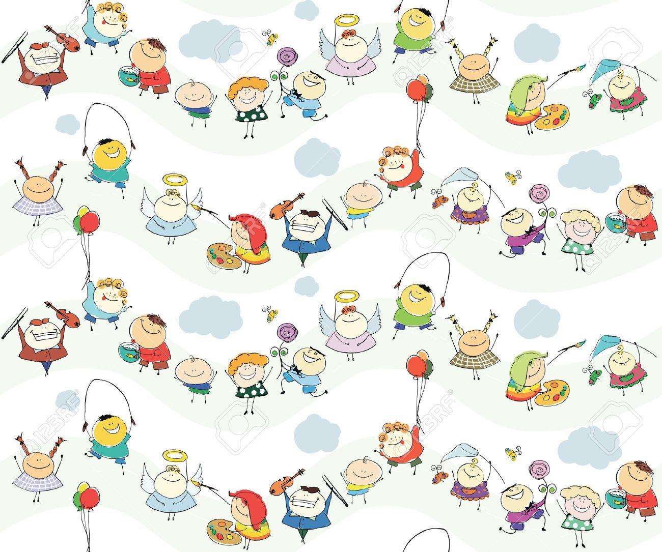 Seamless Children Wallpaper With Happy Kids Stock Vector