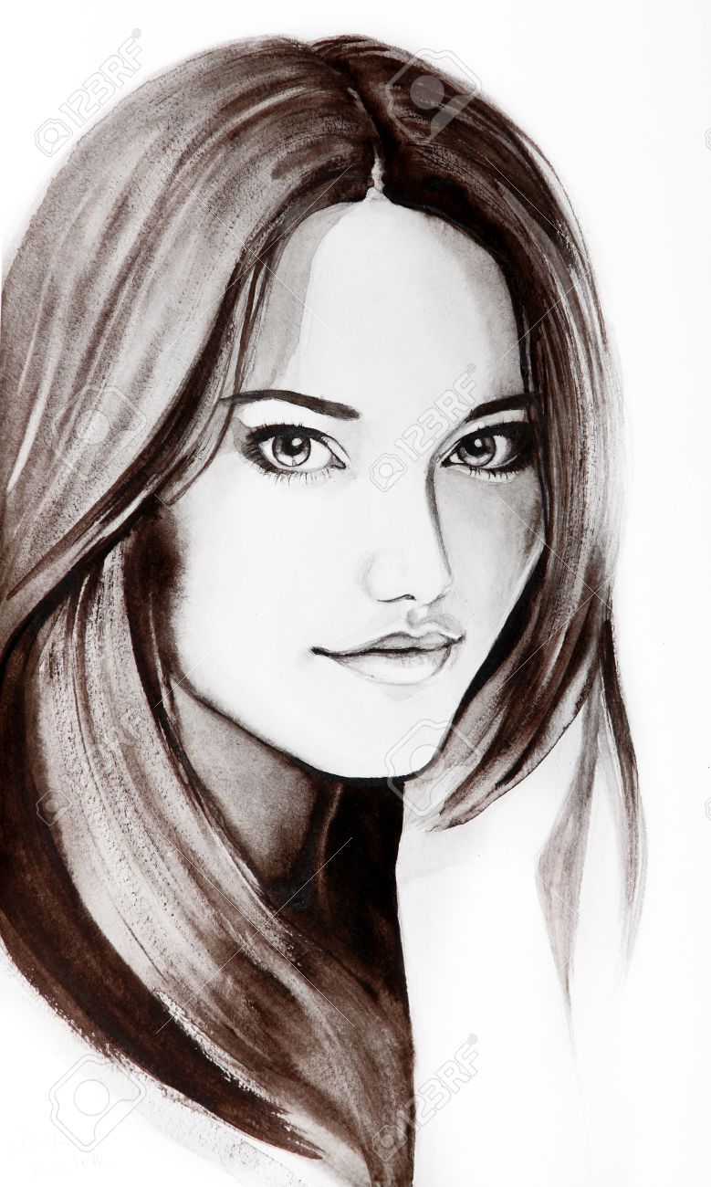 Beautiful young woman with long hair. Creative watercolor art in black and white color Stock Photo - 14795582