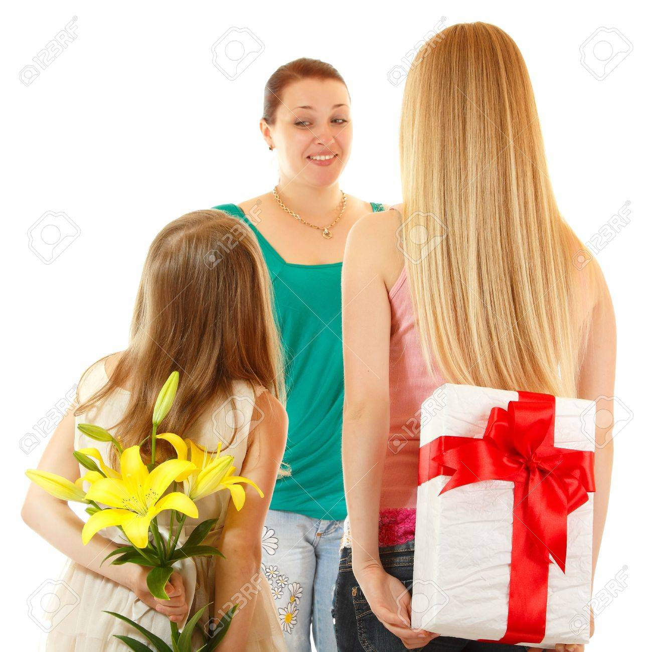 Daughters Send Greetings And Presents To Mother Isolated On Stock