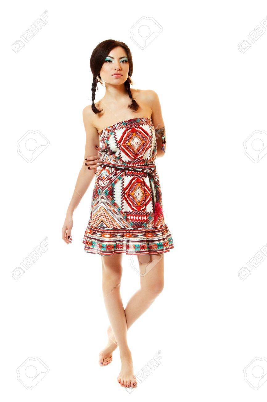 Beautiful young woman native Maya American Indian dressed in national costume, isolated on white background Stock Photo - 16694146