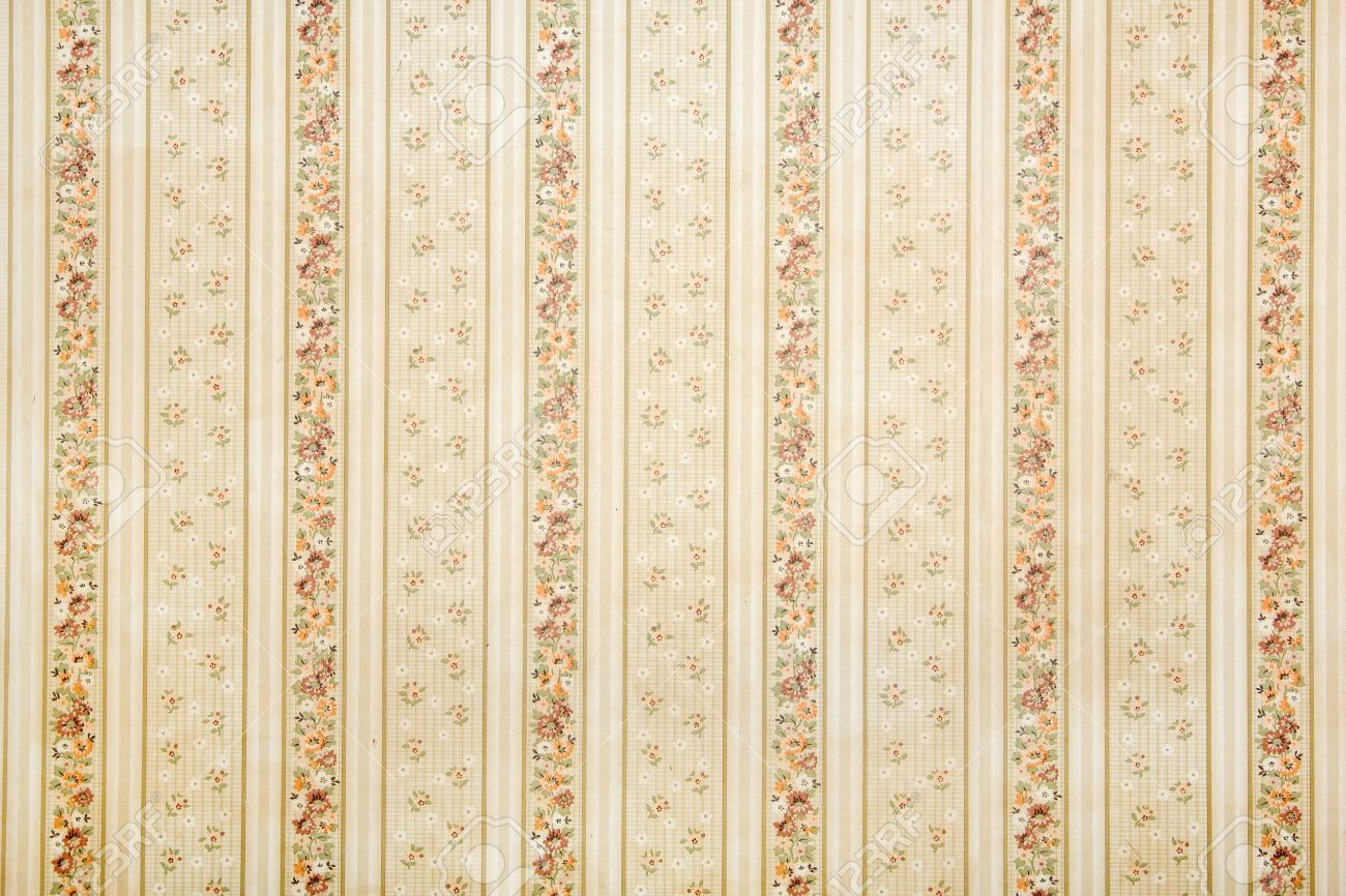 Vintage Striped Wallpaper With Floral Pattern Background Stock
