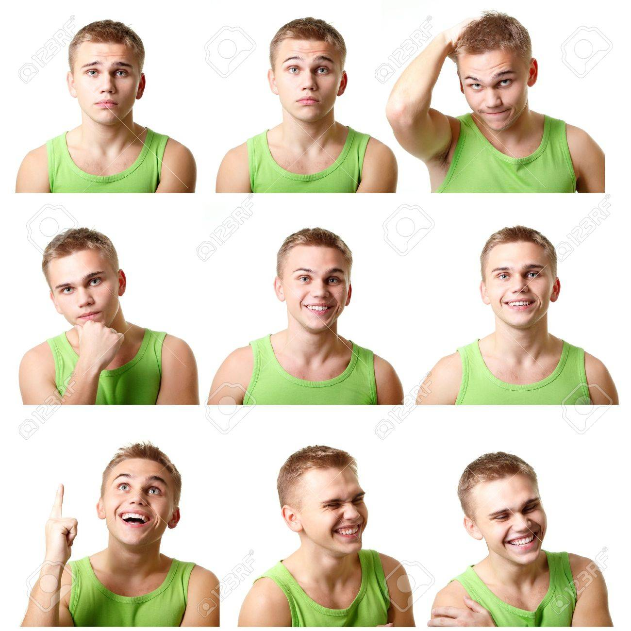 young man emotional faces, expressions set over white background - 18207646