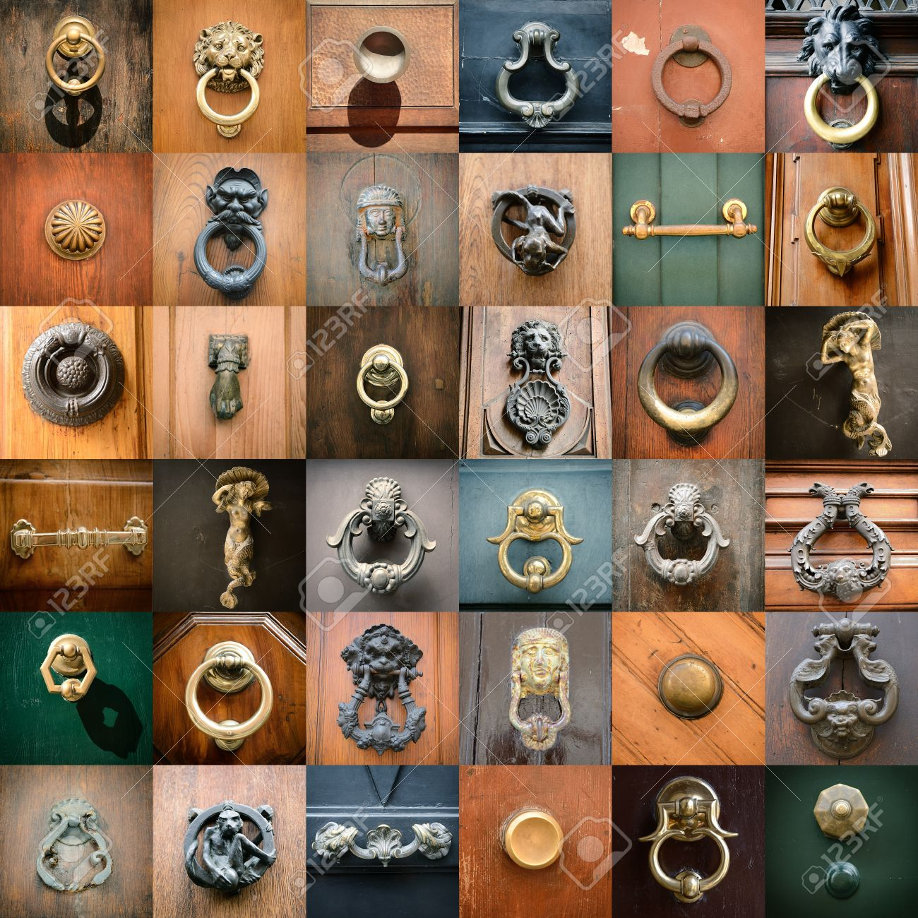 doorknobs of ancient doors in Rome, collection of beautiful vintage architectural details Stock Photo - 21935989