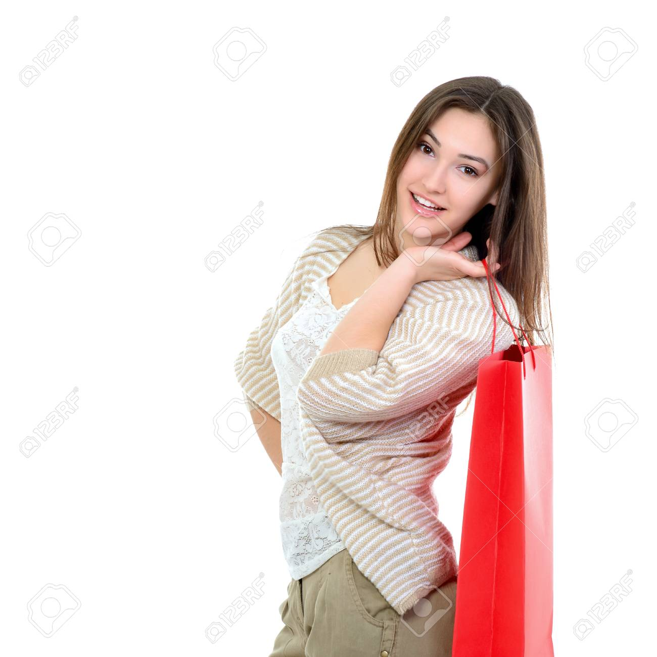 beautiful happy girl shopaholic with red shopping bags, over white Stock Photo - 22278639